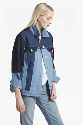 French Connection Indigo Patched Slouchy Denim Jacket