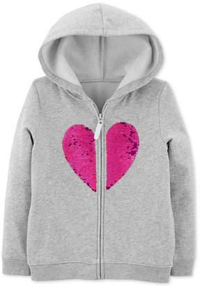 Carter's Carter Little & Big Girls Flip-Sequin Heart Zip-Up Fleece Hoodie