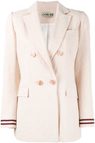 Jour/Né - seersucker double breasted blazer - women - Cotton/Spandex/Elastane - 34