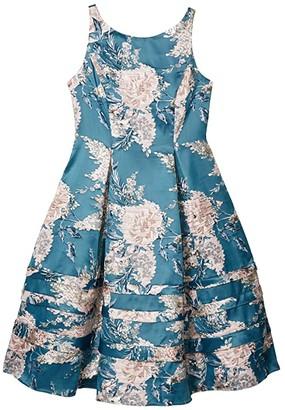Adrianna Papell Jacquard Midi Dress (Teal Multi) Women's Dress