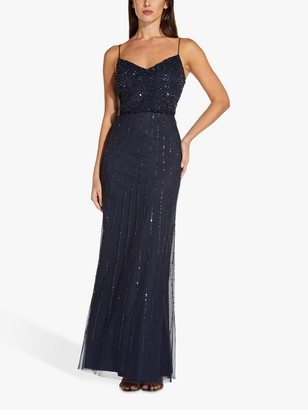 Adrianna Papell Blouson Embellished Maxi Gown, Midnight