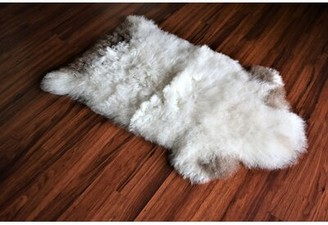 "Bussard Animal Print Handmade 1'11"" x 3' Sheepskin White/Brown Indoor / Outdoor Area Rug Millwood Pines"