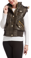 Olive Faux Fur Trim Hooded Vest