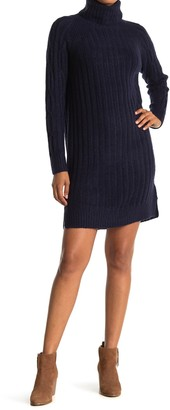 Cloth By Design Ribbed Knit Turtleneck Sweater Dress