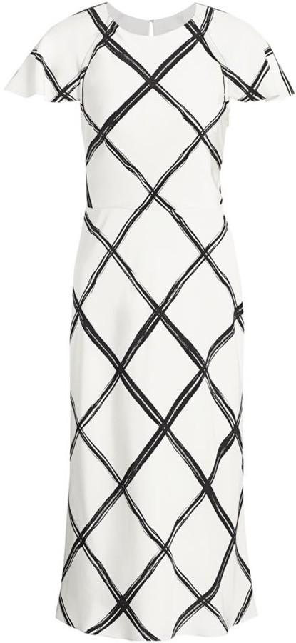 Jason Wu Collection Windowpane Crepe De Chine Sheath Dress