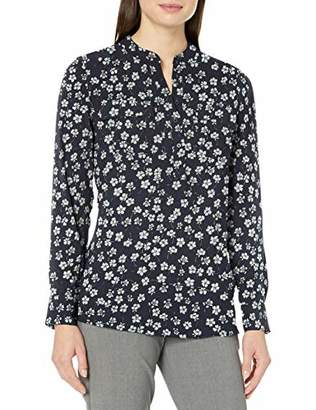Lark & Ro Women's Long Sleeve Sheer Utility Woven Tunic Top with Band Collar