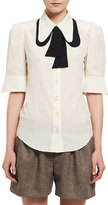 Chloé Contrast Tie-Neck Silk Shirt, White/Black