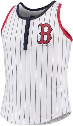 New Era Girls Youth White/Navy Boston Red Sox Pinstripe Jersey Racerback Tank Top