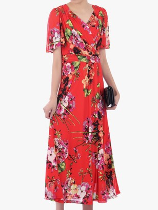 Jolie Moi Floral Print Mesh Maxi Dress, Bright Red/Multi