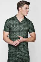 boohoo Khaki Printed Revere Short Sleeve Shirt Co-ord
