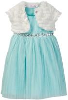 Nannette Baby Sparkle Dress & Faux Fur Shrug Set (Toddler Girls)