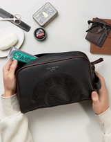 Ted Baker Leather Toiletry Bag In Black