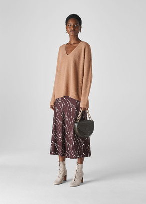 V Neck Rib Wool Sweater