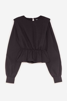 Nasty Gal Womens Pad It Up to Here Peplum Blouse - Black