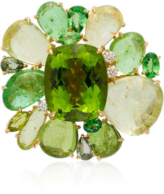 Margot McKinney One of a Kind Peridot and Tourmaline Blossom Ring