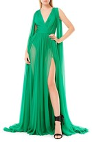 Thumbnail for your product : ZUHAIR MURAD Draped Silk Chiffon V-Neck Gown