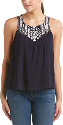 Woven Pink Embroidered Gauze Top