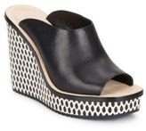 Loeffler Randall Ingrid Leather & Patterned Wedge Mule Sandals