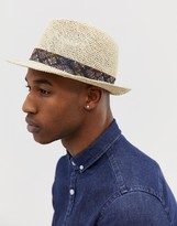 Asos Design DESIGN straw pork pie hat in ecru with vintage inspired printed band