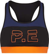P.E Nation For The Count Color-block Printed Stretch Sports Bra - Black
