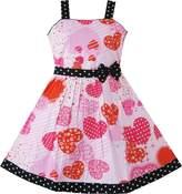 Sunny Fashion AV22 Girls Heart Print Bow Tie Party