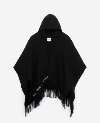 The Kooples Hooded black and ecru wool poncho with logo
