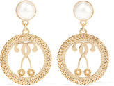 Moschino Gold-tone faux pearl earrings