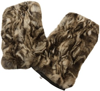 Fendi Beige Rabbit Gloves