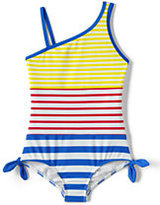 Classic Little Girls One Piece Swimsuit-Dandelion/White Stripe