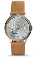 Fossil Vintage Muse Three-Hand Day-Date Tan Leather Watch