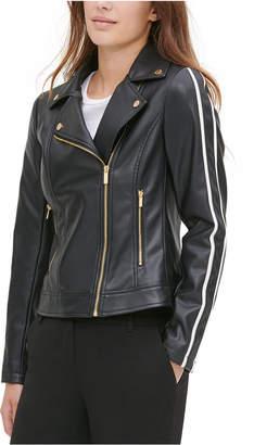 Calvin Klein Faux-Leather Racer-Stripe Moto Jacket