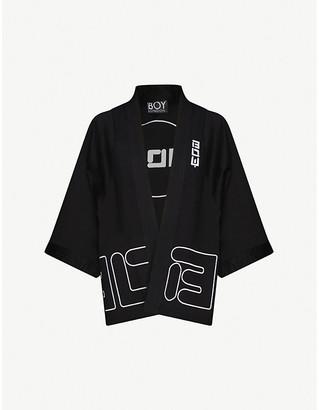 Boy London Branded embroidery stretch-cotton kimono