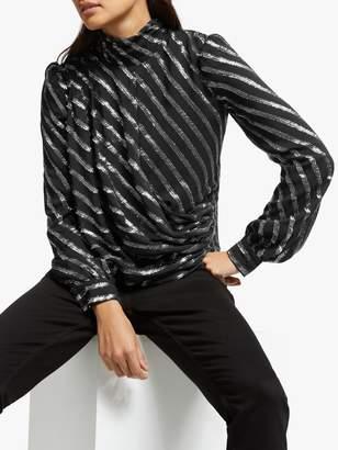 Michael Kors MICHAEL Metallic Stripe Drape Top, Black/Silver