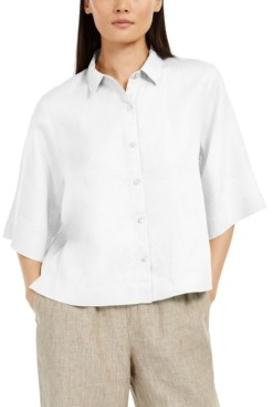 Eileen Fisher Elbow-Sleeve Button-Front Top, Regular & Petite Sizes