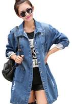 Chinaface Women's Clothing Casual High Street Jacket Long Loose Holes Jacket Outwear XXL