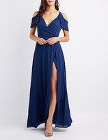 Charlotte Russe Cold Shoulder Ruffle Surplice Maxi Dress