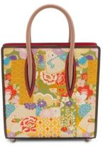 Christian Louboutin Paloma Small Embroidered Patent Leather and Silk Tote