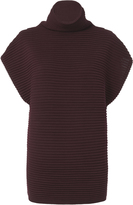 VICTORIA VICTORIA BECKHAM Victoria, Victoria Beckham Funnel Neck Cap Sleeve Sweater Red-Drk 2 1