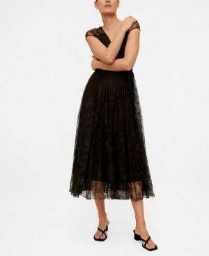 MANGO Women's Lace Midi Dress