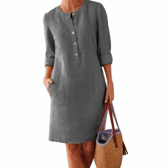 Laz Women's V Neck Summer Dress Long Sleeve Linen Casual Long Dress Vintage Ethnic Sundress Plus Size Tunic Shirts with Pockets M-5XL(Deep Gray 4XL)