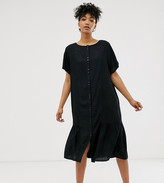 Monki midi dress with button detail in black