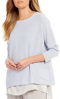 Eileen Fisher Bateau Neck Wide Slouchy Box-Top