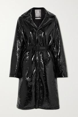 Rains Belted Padded Crinkled Glossed-shell Coat - Black