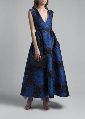 Valentino Floral Matelasse Midi Dress