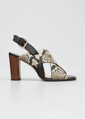 Jimmy Choo 85mm Aix Snake-Embossed & Patent Block-Heel Sandals