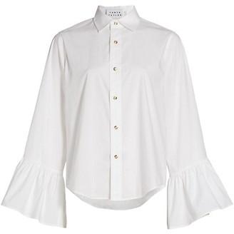 Tanya Taylor Alena Flounce-Sleeve Tailored Top