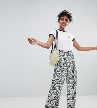 Monki Contrast Print Wide Leg Two-piece Pants-Black