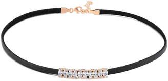 Amorium 18K Rose Gold Plated Cz Black Leather Choker Necklace