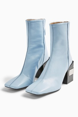 Topshop HARRIS Blue Leather Block Boots