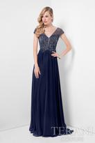 Terani Evening - Bedazzled V-neck Chiffon A-line Dress 1711M3367